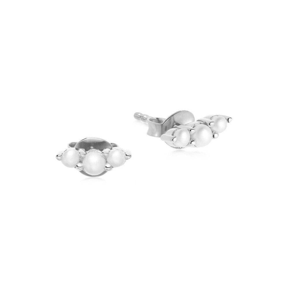 pearl silver trio studs