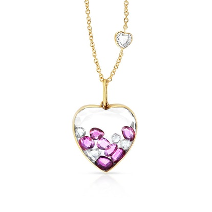 Ruby Heart Shaker Necklace