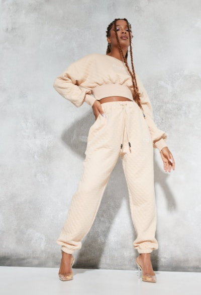 Sean John X Missguided stone quilted oversized joggers
