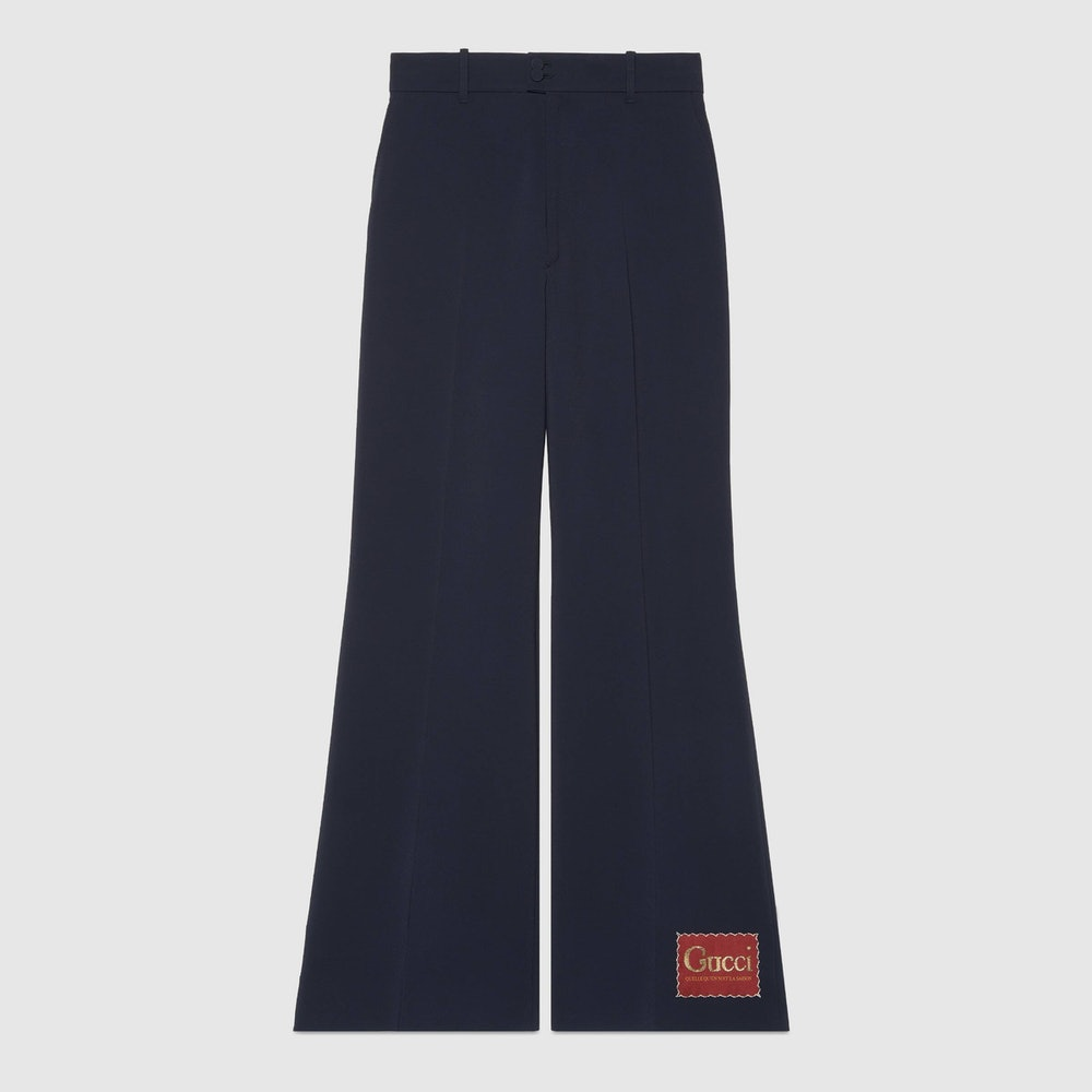 Wide Viscose Pant with Gucci Label