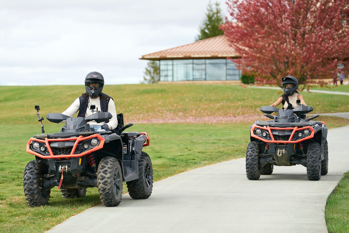 Matt James rides on an ATV while on a one-on-one date during his season of 'The Bachelor,' filmed at Nemacolin.
