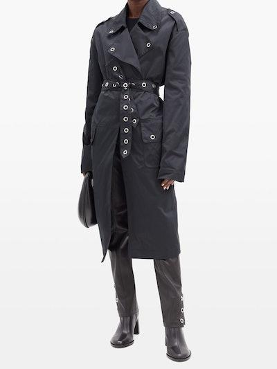 Eyelet-Embellished Trench Coat