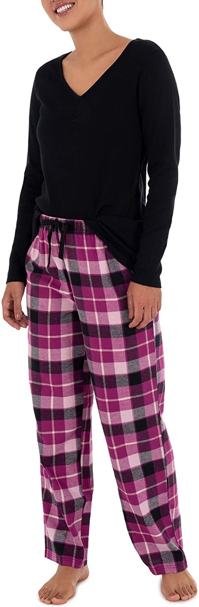 Fruit of the Loom Waffle V-Neck Top And Flannel Pant Sleep Set