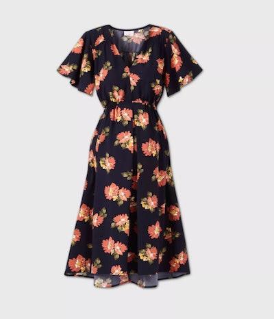 Short Sleeve Woven Maternity Dress