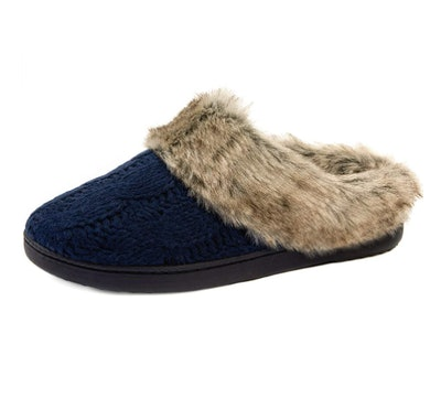 ULTRAIDEAS Cable Knit Slippers with Faux Fur