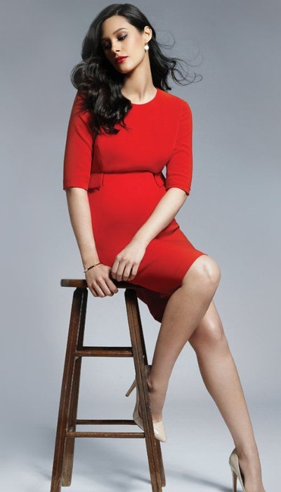Scarlet Peplum Maternity Dress