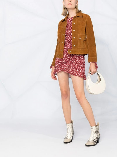 Suede Pointed Collar Jacket