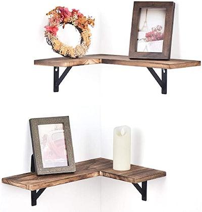Olakee Rustic Wood Corner Floating Shelves