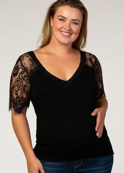 Black Lace Sleeve Plus Maternity Blouse
