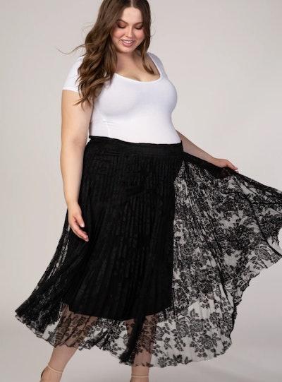 Black Lace Plus Maternity Midi Skirt