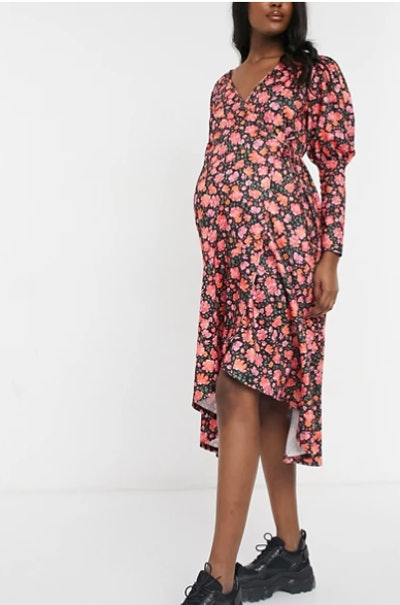 Maternity long sleeve detail midi dress in pink floral