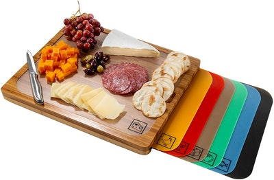 Seville Classics Bamboo Cutting Board and Labeled Flexible Cutting Boards (7-Pieces)