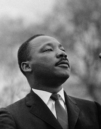 A black and white photo of Martin Luther King Jr.