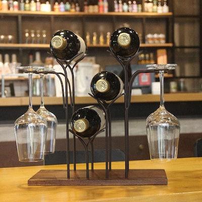 SASIDO Wine Bottle & Glasses Rack