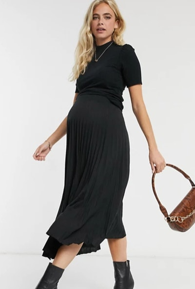 Maternity pleated midi skirt in black