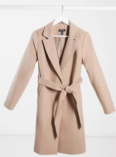 Maternity Belted Coat In Camel