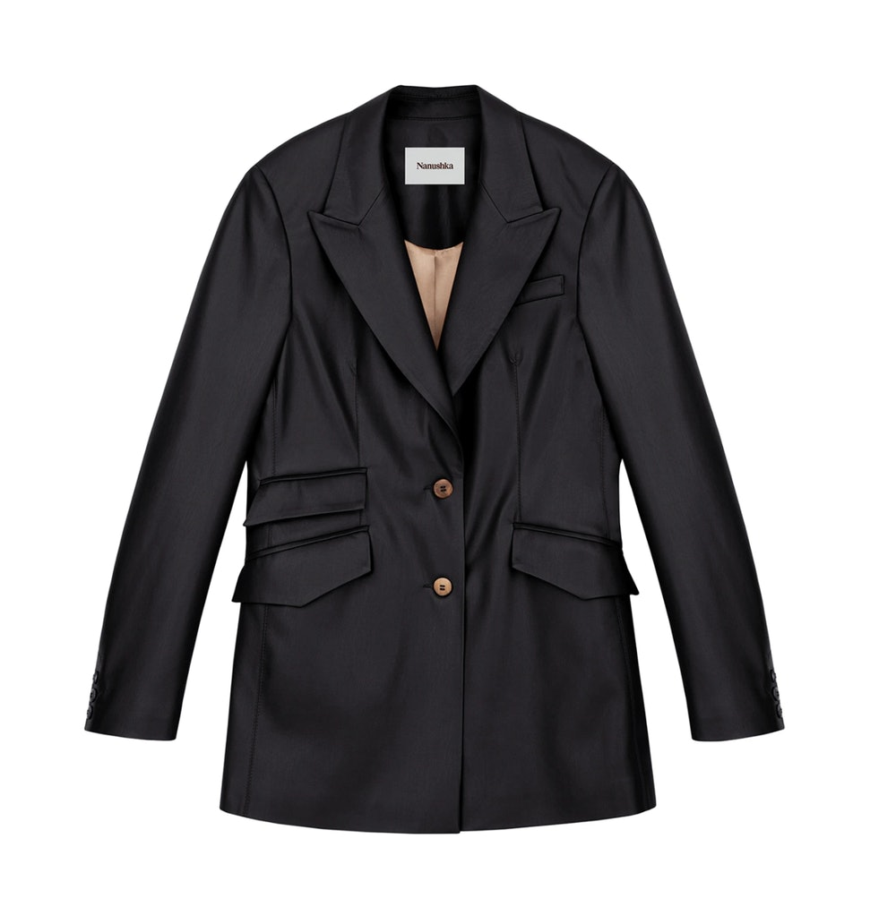 Vegan Leather Fitted Blazer
