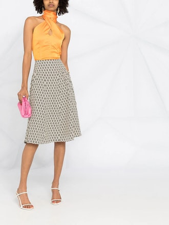 Gancini S-Print Knee-Length Skirt