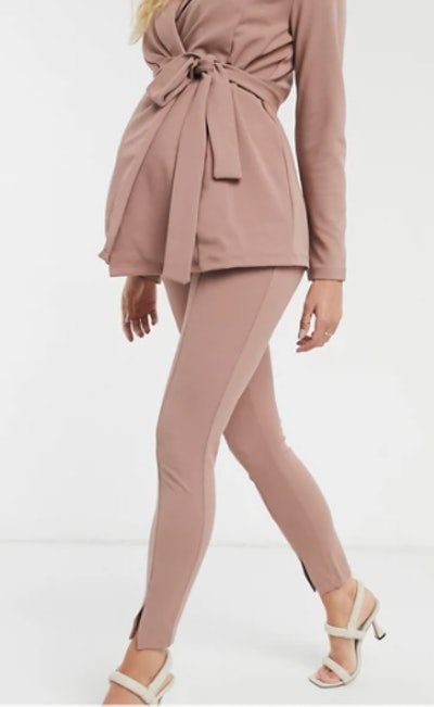 Maternity jersey slim split front suit pants in blush