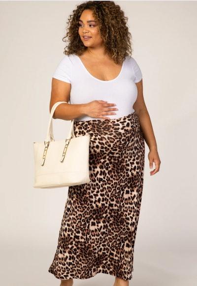 Brown Cheetah Print Maternity Maxi Skirt