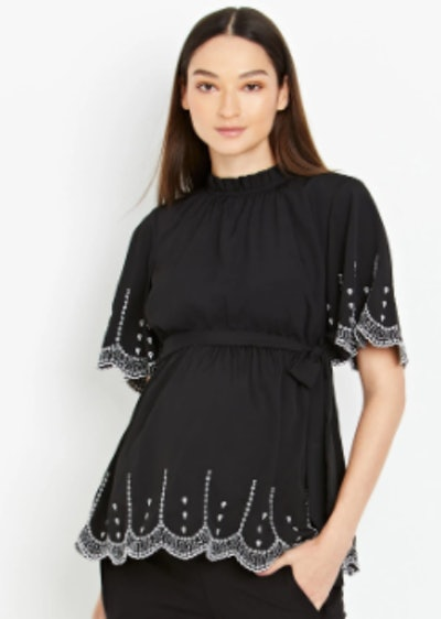 Mock Neck Embroidered Maternity Shirt