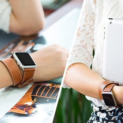Valkit Leather Apple Watch Compatible Double Wrap Band