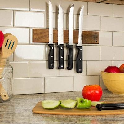 Zulay Seamless Walnut Wood Magnetic Knife Holder