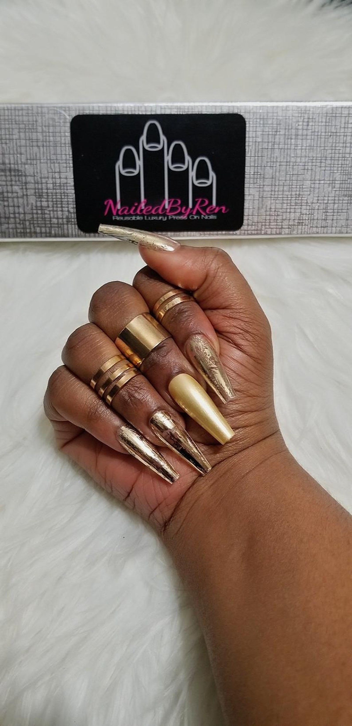 Nailed By Ren Goldie Locks Long Ballerina Press On Nails