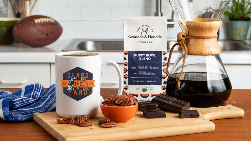 Grounds & Hounds Coffee's Puppy Bowl Blend and merch includes a cute coffee mug.