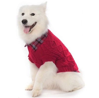 SCENEREAL Dog Sweater with Plaid Shirt