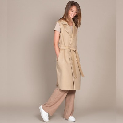Wool Long Sleeveless Coat