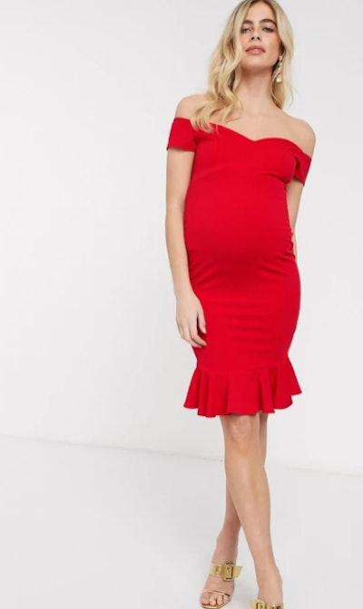 Maternity exclusive bardot pencil dress with ruffle detail hem