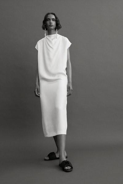 Annely Cow Sleeveless Silk Twill Mini Dress