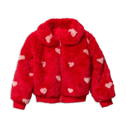 Faux Fur Heart Bomber Jacket