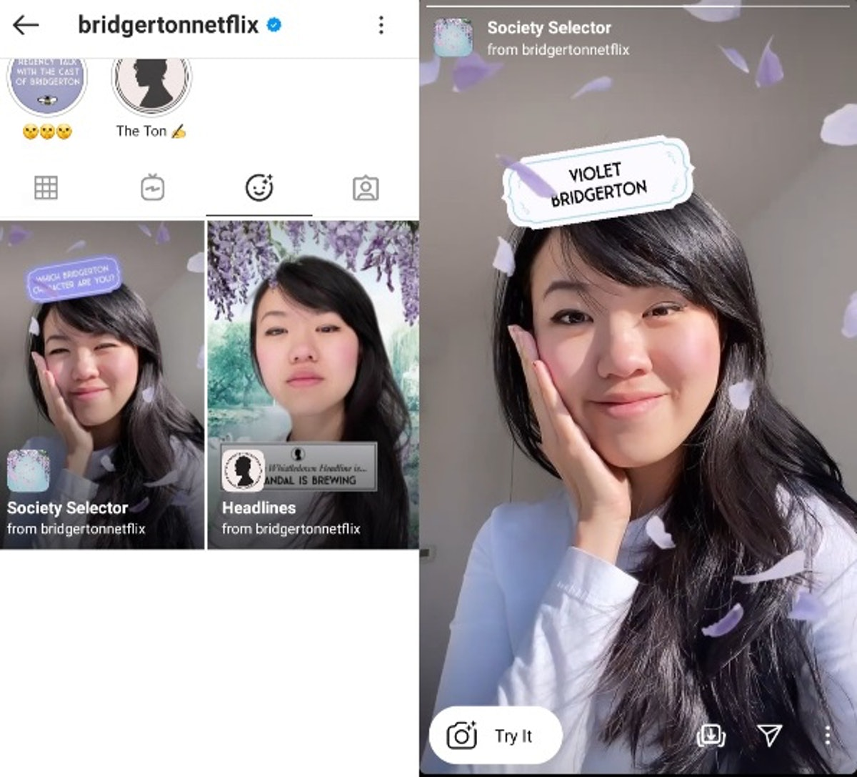 """These """"Which 'Bridgerton' Are You"""" Instagram AR filters will keep the show alive."""