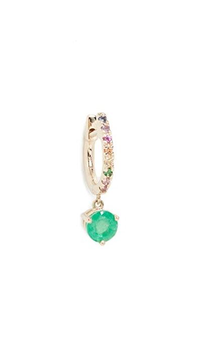 14k Emerald & Rainbow Drop Huggie