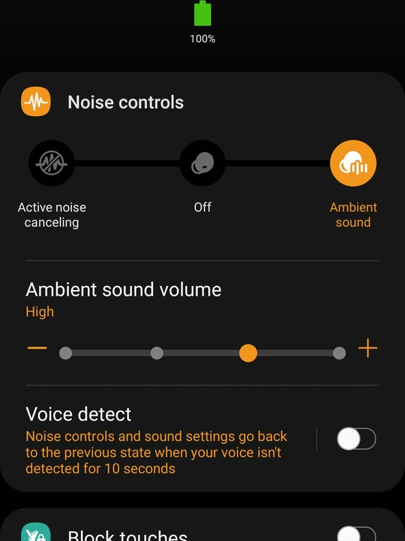 Samsung Galaxy Buds Pro review: Galaxy Wearable app active noise-cancellation settings