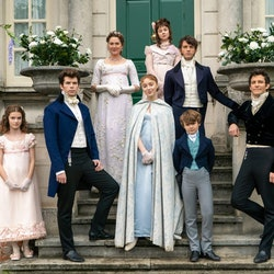 the bridgerton siblings in their finery on the steps of their london house