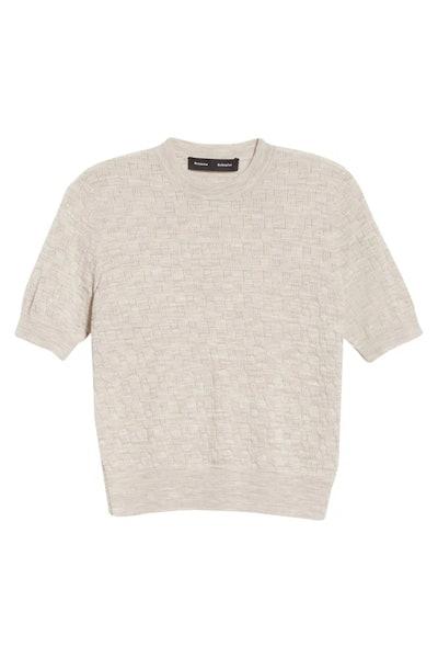 Logo Pointelle Short Sleeve Pullover