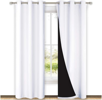 NICETOWN 100% Blackout, Heat and Cold Blocking Curtains with Black Liner (Set of 2)