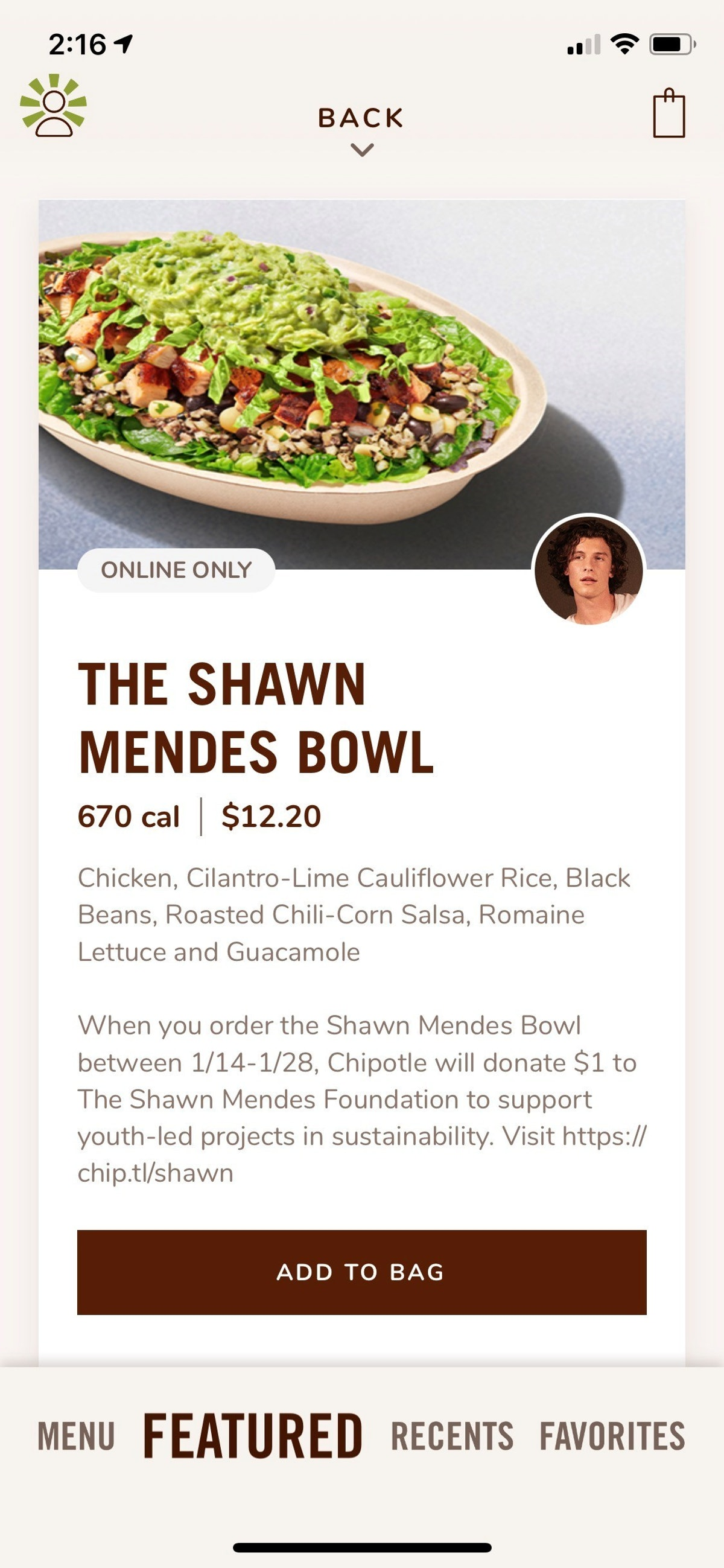 The Shawn Mendes Bowl at Chipotle features the new cauliflower rice.