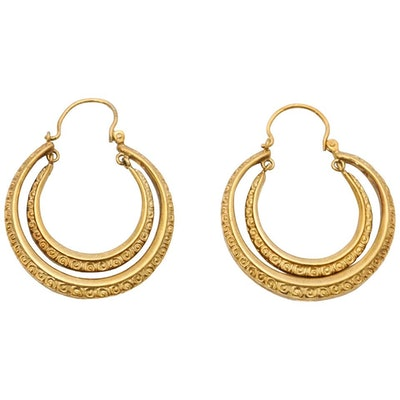 Victorian Engraved Gold Double Creole Hoop Earrings