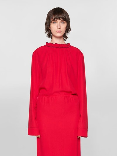 Crepe Envers Satin Shirt With Puckered Crew-Neck