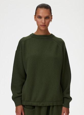 Cashmere Sweater Oversized Drawstring Hem Pullover Sweater
