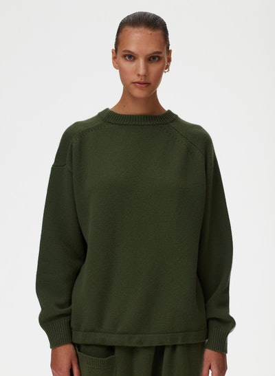 Cashmere Sweater Oversized Drawstring Hem Pullover Sweater