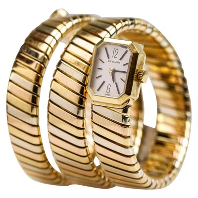 1970s Tricolor 18k Gold Lady's Tubogas Serpenti Watch