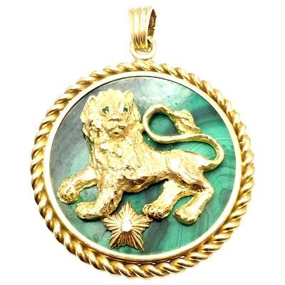 Malachite Diamond Zodiac Yellow Gold Large Pendant