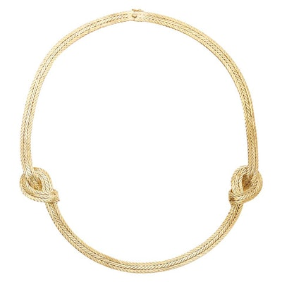 18 Karat Yellow Gold Oro Double Knot Necklace