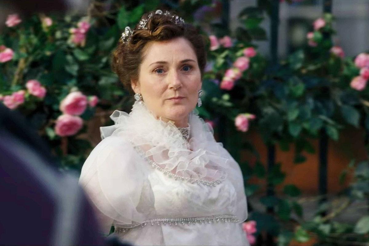 Lady Violet Bridgerton looks concerned in 'Bridgerton.'