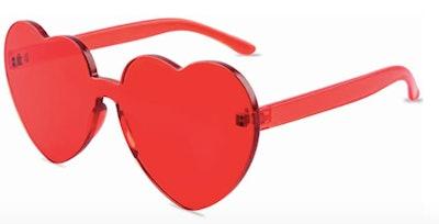 One Piece Heart Shaped Rimless Sunglasses